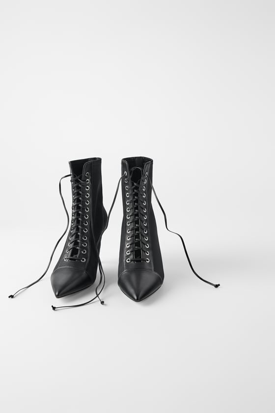 Zara Technical Laced Heeled Ankle Boots
