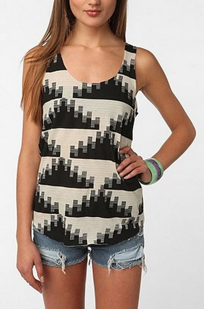 In a soft, stretchy fabric and neutral shades, this printed tank is a great summery basic.  Urban Outfitters BDG Printed Shirttail Scoop Tank ($18)