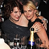 Young Adult's writer Diablo Cody and star Charlize Theron embrace at the show.
