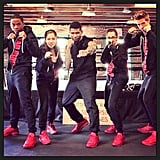 Usher and his team coordinated backstage on The Voice. Source: Instagram user howuseeit