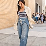 Standout, Splattered Jeans With a Striped Tank and Breezy Cardigan