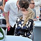 Cute! Spider-Man star Andrew Garfield leaned in for a kiss from girlfriend (and co-star) Emma Stone during a breast cancer benefit in New Jersey on May 22.