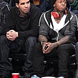 Drake and Lil Wayne were courtside for the NBA All-Star Game in February 2011.