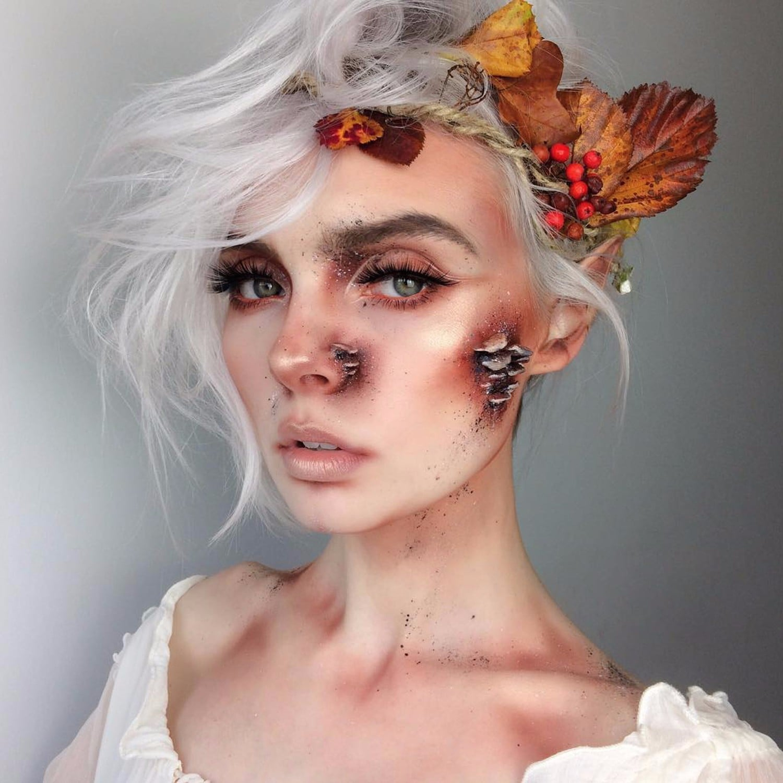wood nymph halloween makeup idea   popsugar beauty
