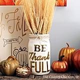 Be Thank Full Painted Mason Jar