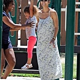 Halle Berry and Nahla Aubry hung out with friends at the park.