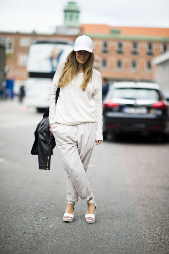 This cream-colored palette still feels like Fall, thanks to staple trousers and a slouchy knit. Source: Adam Katz Sinding