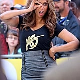 Tyra Banks gave a wink to the Good Morning America cameras in NYC on Monday morning.