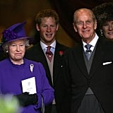 At the wedding of family friend Edward Van Cutsem in November 2004, the smiles on Harry's and Philip's faces were the widest as they shared a joke.