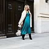 Affordable & Festive Outfit Formula: Midi Dress + Faux-Fur Coat + Boots + Bag + Jewelry