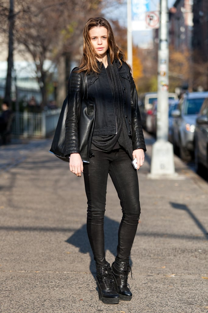 All-black in sleek textures and skinny fits has an always-chic effect. Source: Adam Katz Sinding