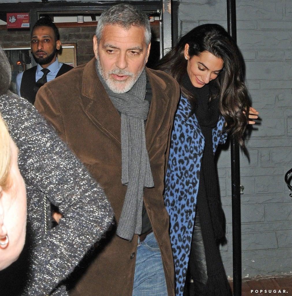Amal Clooney Blue Leopard Coat