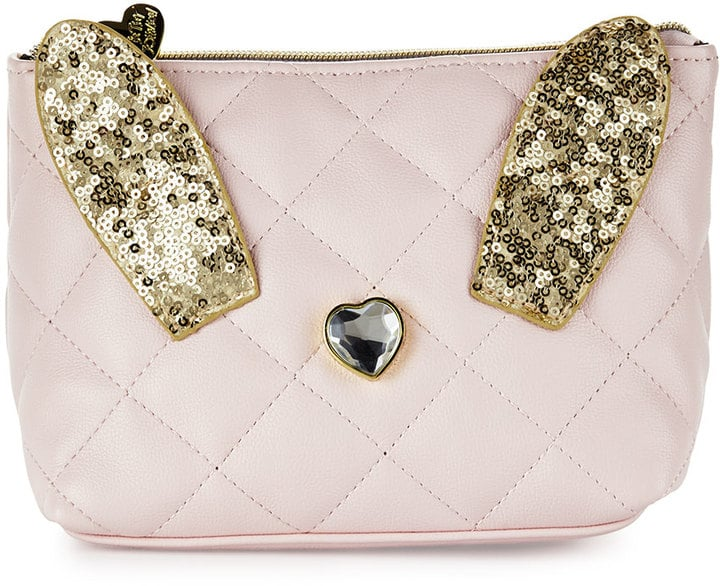 Disco Bunny Quilted Cosmetic Bag, Blush