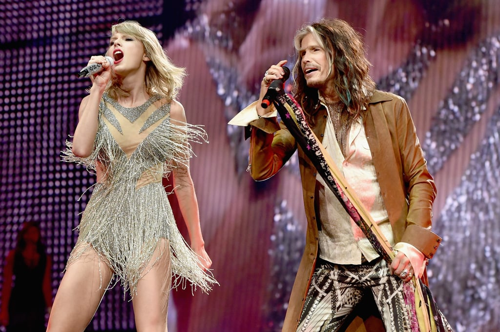 """Fans were in for quite the surprise during Taylor Swift's 1989 world tour show in Nashville on Friday. For her latest round of surprise guests, Tay brought out Alison Krauss, rising country singer Kelsea Ballerini, and rock legend Steven Tyler! The duo stole the show with a performance of Aerosmith's """"I Don't Want to Miss a Thing."""" But the fun didn't stop there. After the show, Taylor tweeted out how much of an honor it was to sing with Steven and shared a clip from the show.      Singing 'I Don't Want to Miss a Thing' with @IamStevenT was an honor. So inspired by how sweet he was to all of us. pic.twitter.com/D6YOv1yYXe — Taylor Swift (@taylorswift13) September 26, 2015  The funny thing is, Taylor had tweeted about the song back in October 2012. Steven actually retweeted it when he posted his own tweet about the show!   I feel like I'd be more understood if people knew 'I Don't Want to Miss a Thing' by Aerosmith is how most of my emotions sound in my head. — Taylor Swift (@taylorswift13) October 6, 2012   WELL MA DARLIN'...YOU SURE WERE OVERSTOOD TONIGHT! A++...EPIC SHOW...UNTIL NEXTIME... https://t.co/LbHb6nt5v6 — Steven Tyler (@IamStevenT) September 26, 2015  Keep reading for a look at Taylor and Avril Lavigne's surprising onstage moment, then watch Taylor and Avril put all those feud rumors to rest. Plus see what happened when Taylor met a 7-year-old dancing fan."""