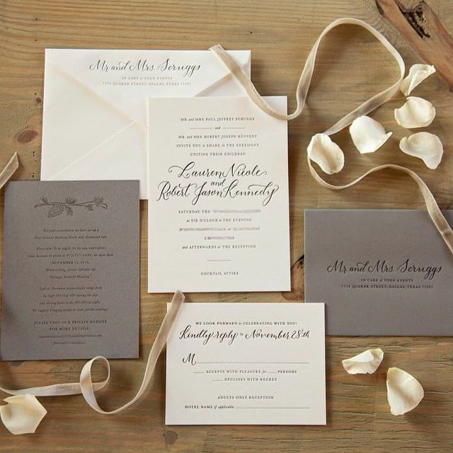 Celebrity Wedding Invites: Lauren Shared Images Of The Couple's Invitations.