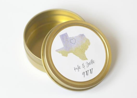 Personalized Texas State Wedding Favor Tins