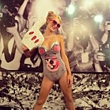 Paris Hilton did her best Miley Cyrus impression for Halloween, foam finger and all. Source: Instagram user parishilton