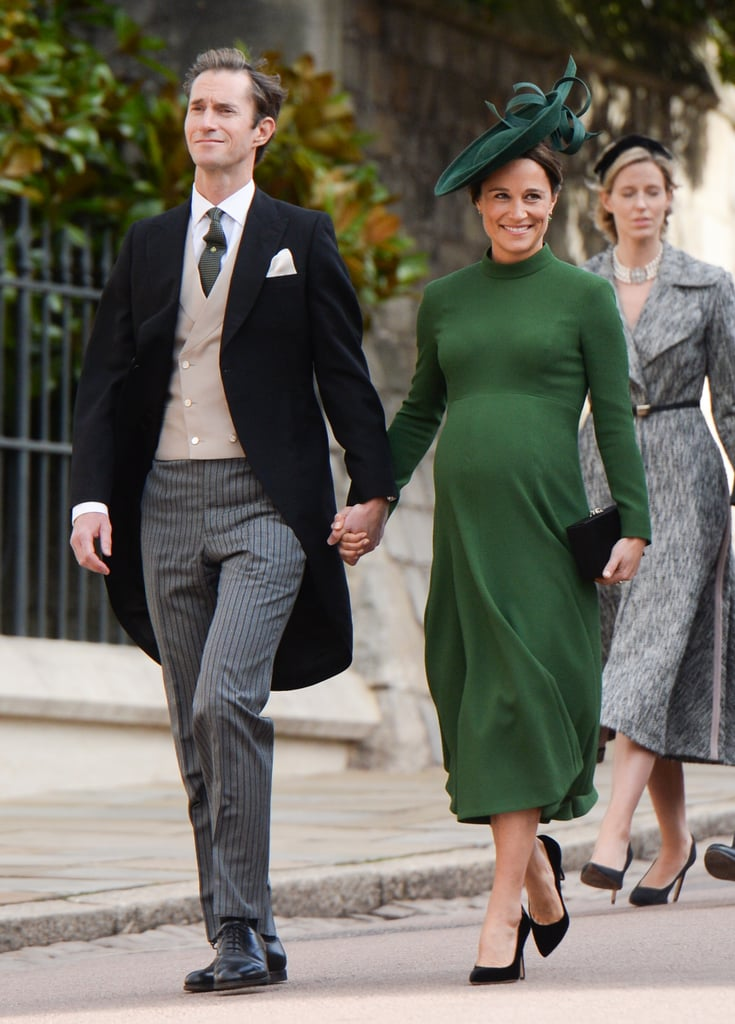 There they are! Pippa Middleton and James Matthews were spotted making their way into St. George's Chapel for Princess Eugenie and Jack Brooksbank's wedding on Oct. 12. The couple, who are currently expecting their first child, were all smiles as they walked in front of Pippa and Kate's younger brother, James Middleton. Pippa even gave a glimpse of her growing baby bump in a green dress. There were contrary reports that Pippa was due to give birth this weekend, which makes her appearance at the wedding such a nice surprise! We're glad they were all able to attend the special occasion.       Related:                                                                                                           A Few Rare Glimpses of Pippa Middleton and James Matthews's Romance