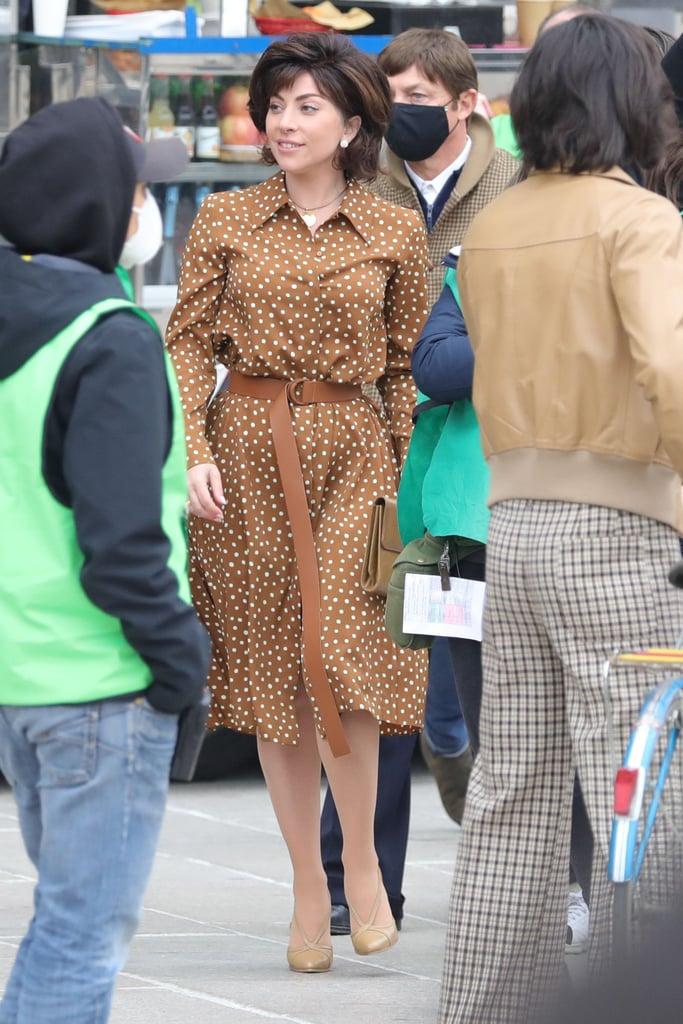 Lady Gaga Wearing Max Mara Polka-Dot Dress on House of Gucci