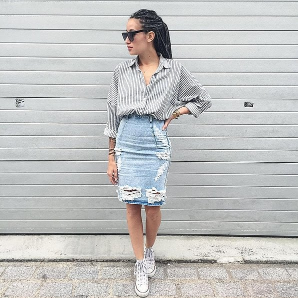 A Distressed Denim Pencil Skirt Striped Top And Trainers