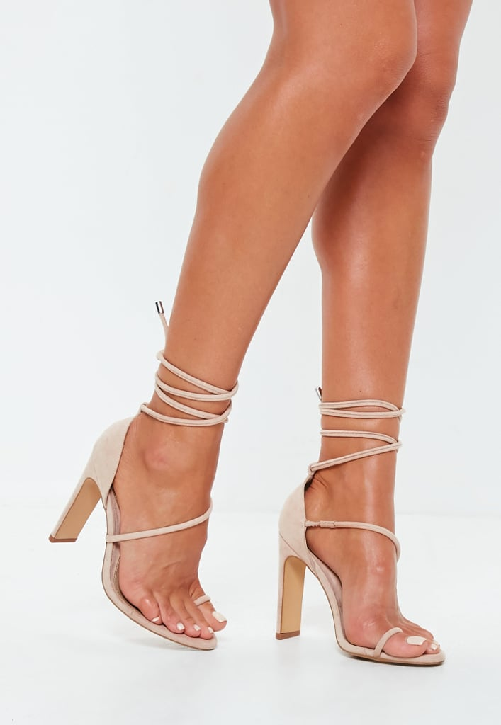 5ca688eea2ae Missguided Nude Strappy Toe Post Heeled Sandals