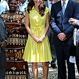 Before donning the bright pink strapless dress, Kate Middleton stepped out in an electric yellow Jaeger number. Although, she toned down the accessories, only pairing the look with her signature L.K. Bennett pumps.