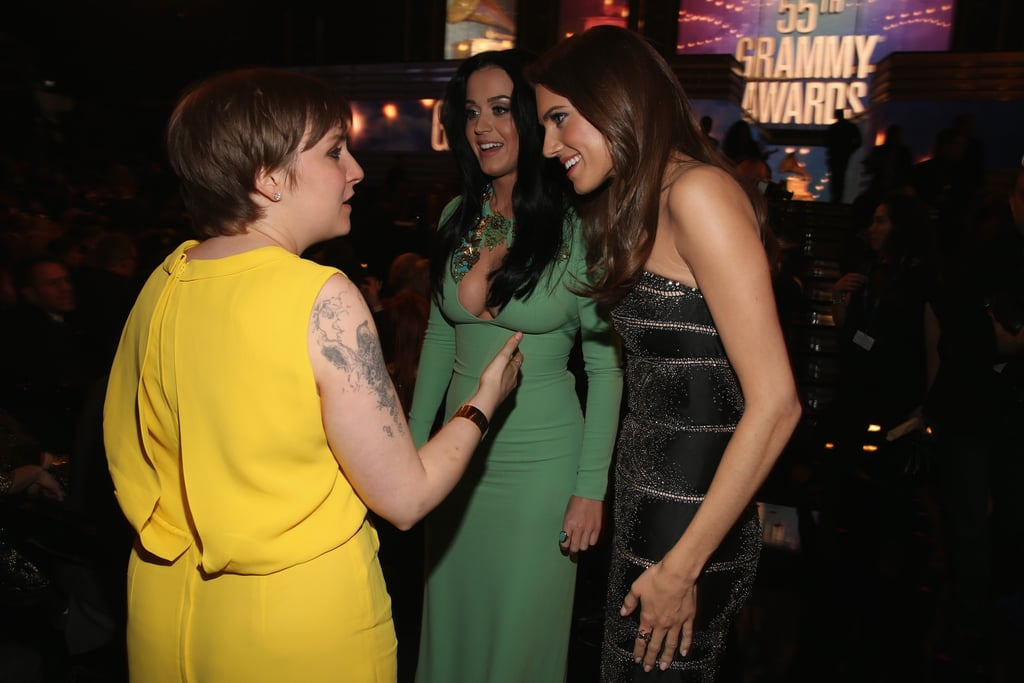 Girls stars Lena Dunham and Allison Williams met up with Katy Perry.