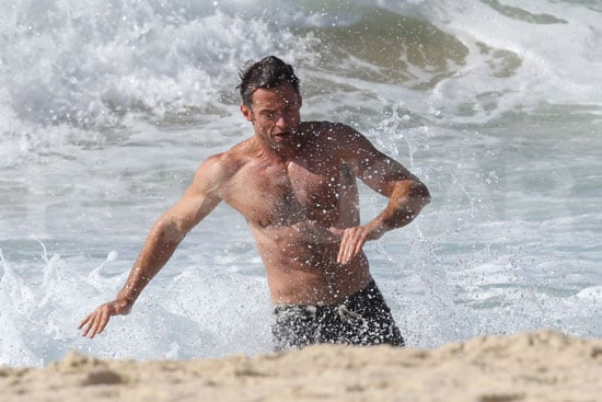 Hugh Jackman ran out of the waves on Bondi Beach.