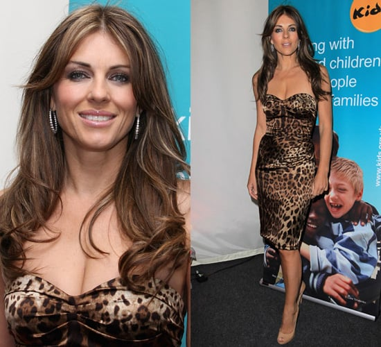 Photos of Elizabeth Hurley in Tight Fitting Leopard Print Dress