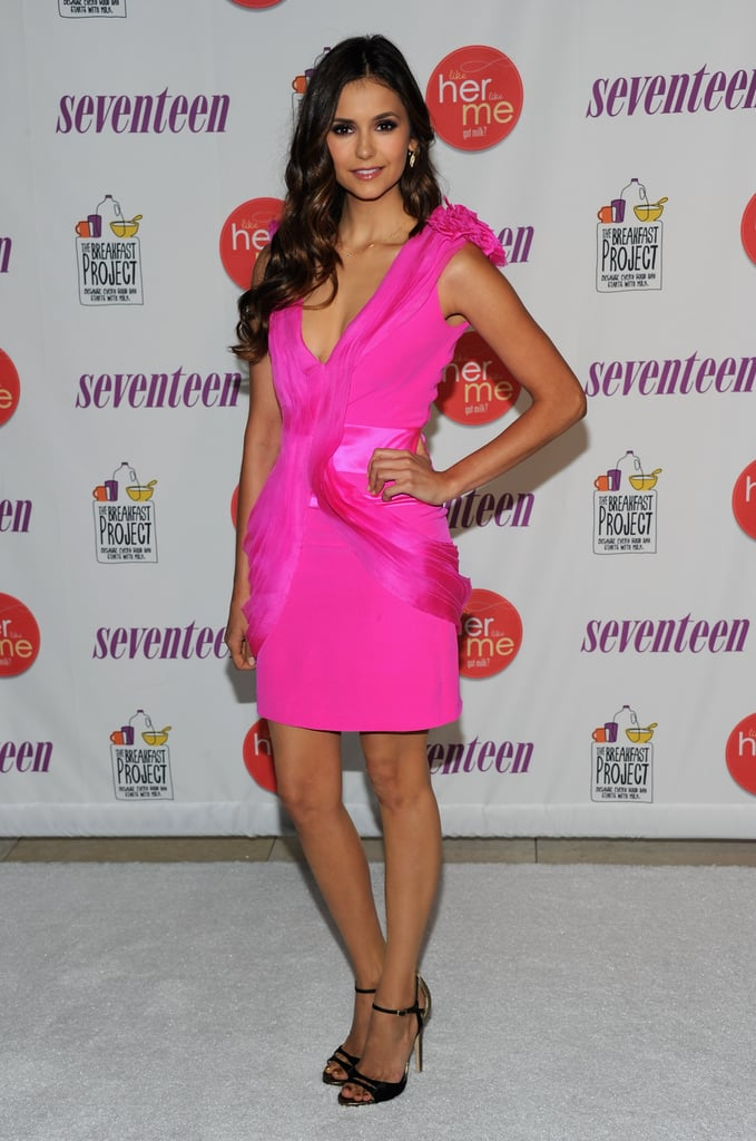 Nina wore a cool pink minidress by Gabriela Cadena, along with Jimmy Choo black sandals, to promote her new Got Milk? campaign just last week.