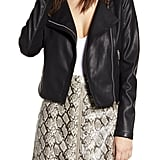 BLANKNYC Record Breaker Collarless Faux Leather Moto Jacket