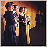 The cast of Downtown Abbey showed off their awards backstage. Source: Instagram user marcmalkin