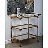 Brass Gold and Reflective Mirror 2-Tier Bar