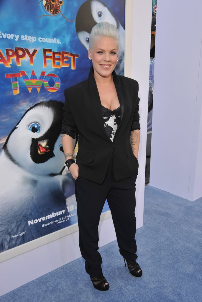 Pink went for a sleek and cool pantsuit on the blue carpet at the Happy Feet Two premiere.