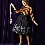 Black Dancing Skeletons Print High-Waist Circle Swing Skirt