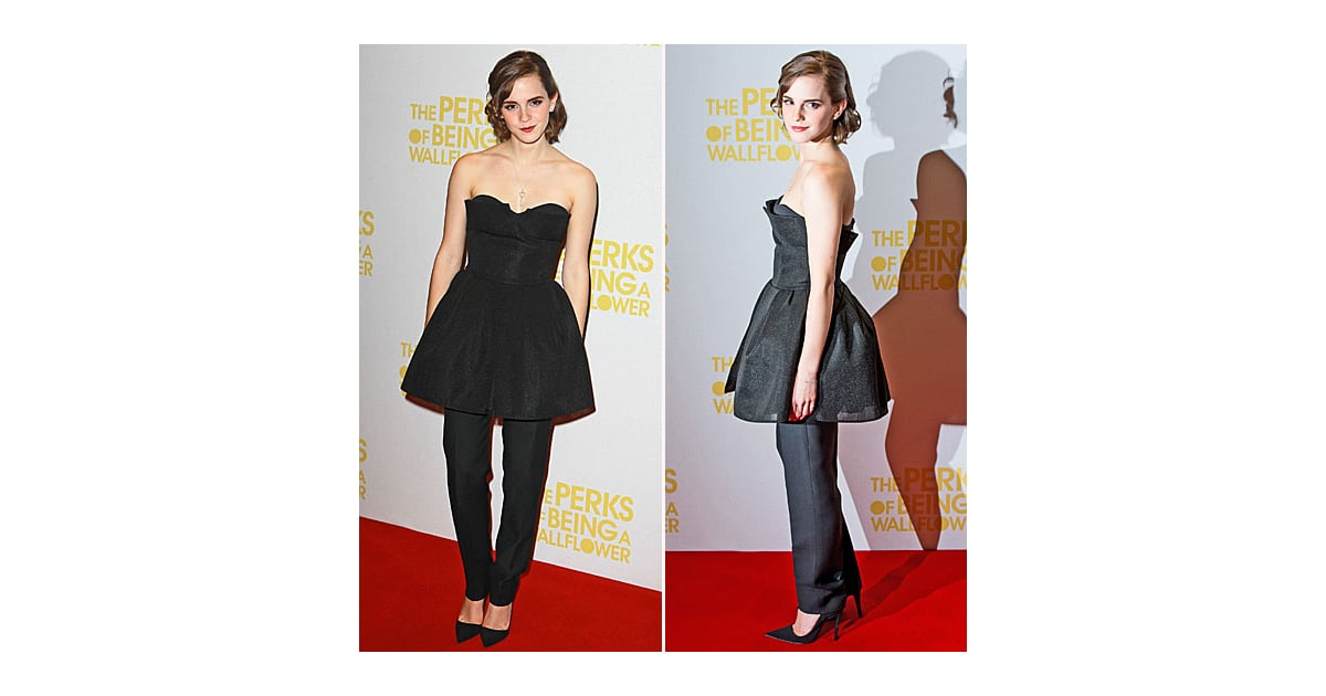 PopsugarFashionEmma WatsonEmma Watson Wearing a Dress Over PantsLove It or Leave It: Emma Watson Wears Pants — With Her DressSeptember 26, 2012 by Hannah Weil McKinley13 SharesChat with us on Facebook Messenger. Learn what's trending across POPSUGAR.We saw it coming on the runways this Spring, but Emma Watson just took the dress-over-pants trend for a real-life test-drive at the London screening of her new film, The Perks of Being a Wallflower. A wallflower she certainly is not, as Emma embraced the bold take on layering in a Christian Dior Couture look — a strapless fit-and-flare cocktail dress and a pair of straight-leg black trousers. Sure, the pieces on their own are all classics — right down to her pointed-toe pumps, but together, they become something a little more fashion-forward. Now we want to know, are they better together or would you have liked to see Emma just pick one?Image Source: Getty Join the conversationChat with us on Facebook Messenger. Learn what's trending across POPSUGAR.The Perk - 웹