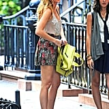 Blake Lively filmed a scene for Gossip Girl in NYC.