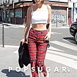Bella Showed Off Her Midriff in a White Crop Top and Red Plaid Pants