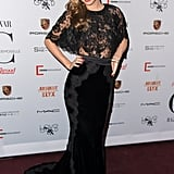 Miranda Kerr looked exquisite in sheer lace Dolce & Gabbana at the Mademoiselle C premiere in NYC.