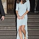 You could barely make out Kate's second pregnancy bump when she stepped out in Oct. 2014 (her first appearance since the baby announcement). Kate wore a blue Jenny Packham wrap dress and L.K. Bennett's Agata sandals as she walked the steps of the Natural History Museum in London.
