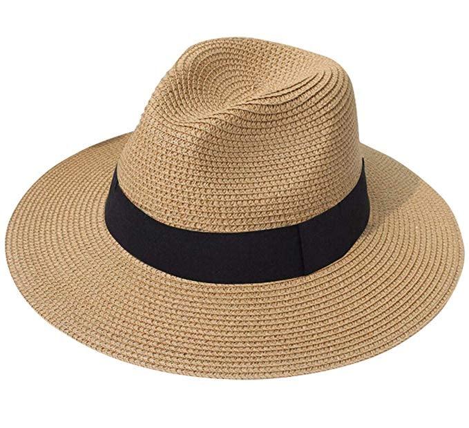 Lanzom Wide-Brim Straw Panama Hat