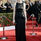 Michelle Dockery was statuesque in a satin Chado Ralph Rucci gown, with side cutouts, black satin Rupert Sanderson pumps, and Bulgari jewels.