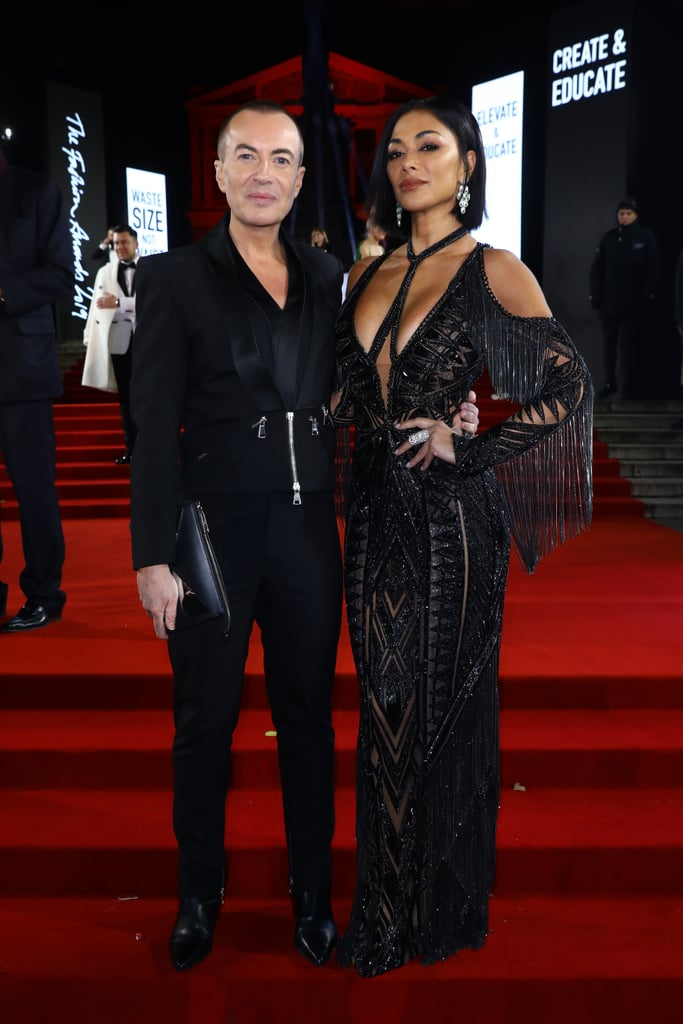 Julien Macdonald and Nicole Scherzinger at the British Fashion Awards 2019 in London