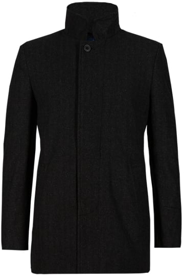 M&s Collection Tailored Fit Textured Funnel Neck Coat With Wool (£59)