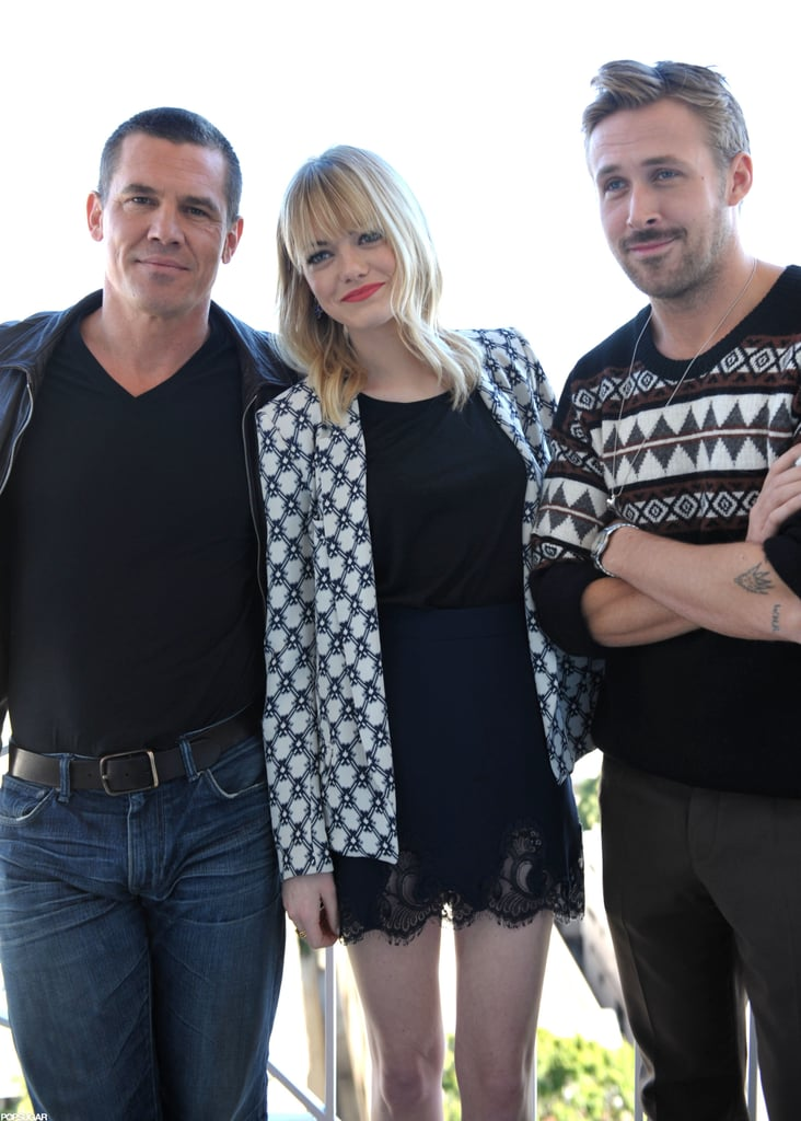 Josh Brolin, Emma Stone, and Ryan Gosling posed for photos to promote Gangster Squad.