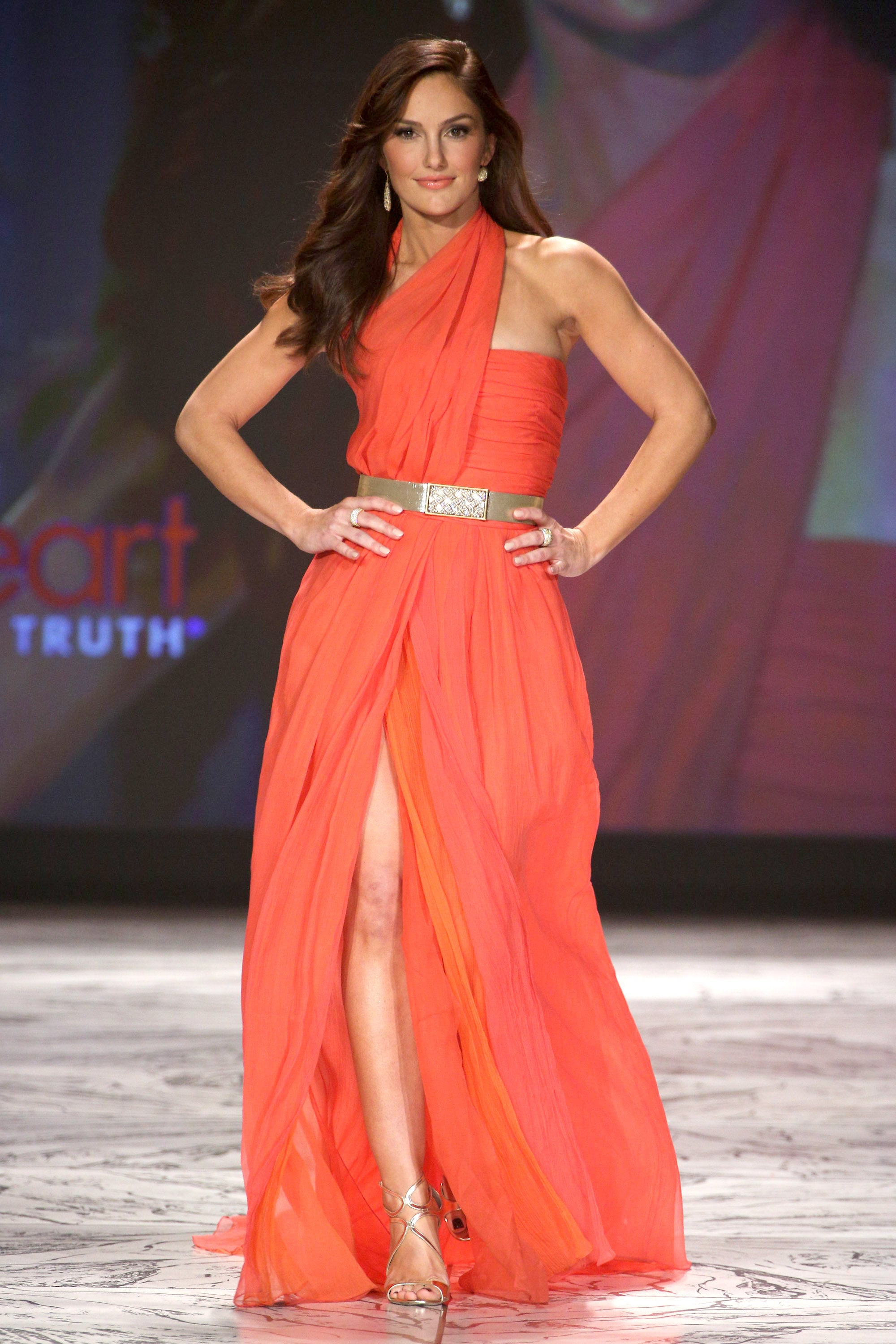 Minka Kelly walked the runway in Oscar de la Renta at The Heart Truth's Red Dress Collection fashion show on Wednesday.