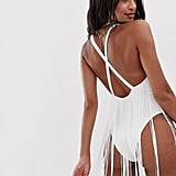 ASOS DESIGN Fringe Back Strappy Plunge Swimsuit