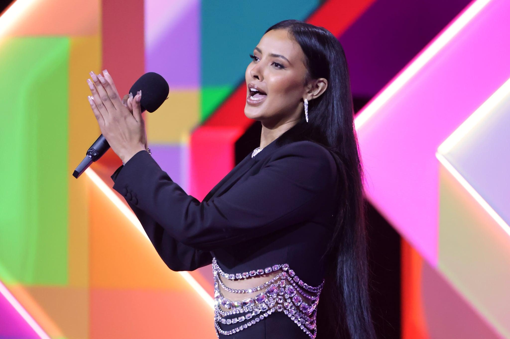 LONDON, ENGLAND - MAY 11:    Maya Jama speaks at The BRIT Awards 2021 at The O2 Arena on May 11, 2021 in London, England.  (Photo by David M. Benett/Dave Benett/Getty Images)