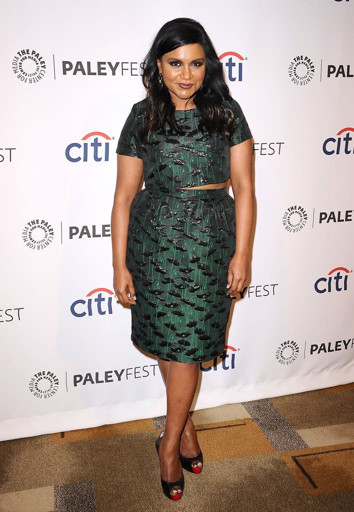For a festive feel, Mindy Kaling looked to Topshop's two-piece jacquard set.