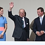 Philip was flanked by the Duchess of Cambridge and his grandson Peter Phillips as he gave a wave to guests at a celebration for Queen Elizabeth's 90th birthday in June 2016.